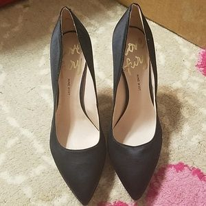 Nine West Love Fury Black Satin Heels